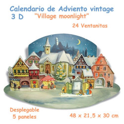 "Calendario de Adviento vintage 3 D ""Village Moonlight"""