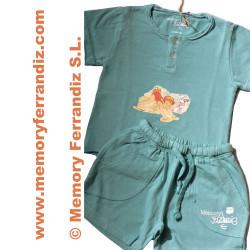"""Camiseta y pantalón corto Ferrándiz """"Cangrejo"""".  Color aguamarina"""