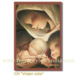 Christmas tarjeta Ferrándiz VIRGEN COLOR, NUEVA, 12 X 17 cm