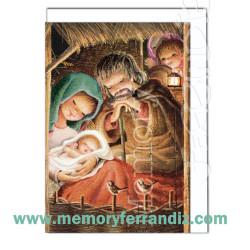 Tarjeta Christmas, Memory Ferrándiz- RESPLANDOR PESEBRE-