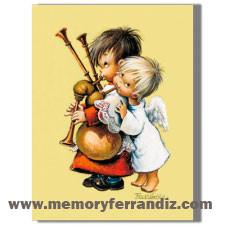 Cuadro en lienzo digital, Angelitos con Gaita, Ferrándiz, monaguillo con gaita , Memory Ferrándiz