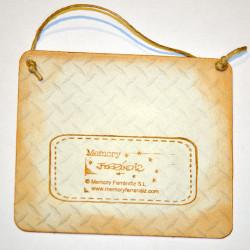 """Placa puerta vintage cartón maché. 12,4 X 11 cm, con cordel. Elefante """"PISCINA"""""""