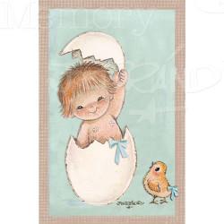 Estampas recordatorios Nacimiento HUEVO AZUL 50 Uds, en cajita.  7'5 x 12 cm