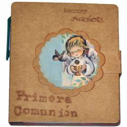"Libreta mini con notas de colores autoadhesivas +bolígrafo. ""Primera Comunión"". 9 x 8 cm  ""Angelito Comunión"""