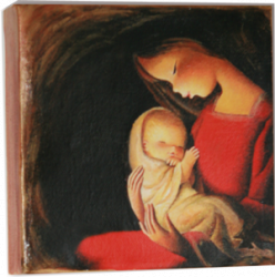"Lienzo óleo artesano - ""Virgen, fondo negro"" (15 x 15 cm)."