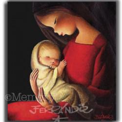CUADRO en lienzo digital  -Virgen Roja Fondo Negro- Ferrándiz (56X56cm)