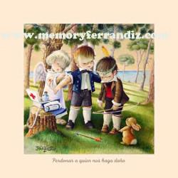 Cuadro en lienzo digital Obras de Misericordia 9 -Perdonar a quien nos haga daño-