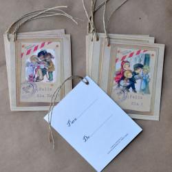 Etiquetas regalo FELIZ DÍA y FELIZ DÍA MAMÁ,  Ferrándiz, combinado, con cordel rústico. Pack 6 uds