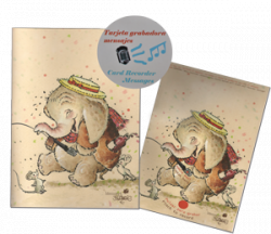 "Tarjeta Grabadora ""Elefante"" + sobre (22,5 x 15,5 cm)"