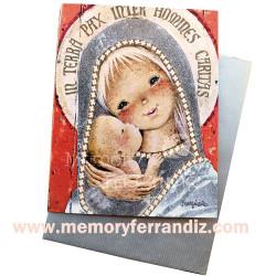 """Tarjeta """"Virgen gótica plateada""""+ sobre color plateado. 15x 19 cm"""