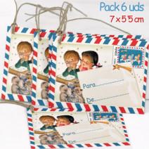 Mini tarjetas-etiquetas regalo CARTAS REYES, Ferrándiz, con cordel rústico.