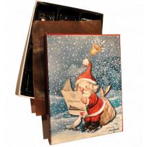 """Caja Bombones o multiusos """"Papa Noël con diario"""" (17x12x3cm)"""