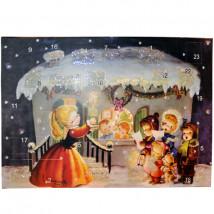 "Calendario de Adviento Casita Nevada.42 cm x 30 cm. Con purpurina ""DIAMANTINA"""