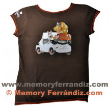 """Camiseta """"Biscuter"""". Color marrón.Tallas MUJER"""