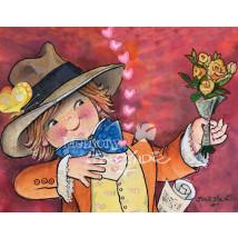 Tarjeta San Valentín Ferrándiz CHICO CON RAMO, 15 x 19 cm