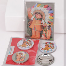 Chapitas pack 2 uds: INDIO 32 mm, con aguja.