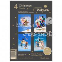 Christmas Ferrándiz NIÑOS ESQUIANDO Pack 4  tarjetas variadas+ sobre (12 cm x 17 cm).