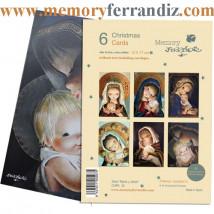 Christmas  Ferrándiz, serie MARIA Y JESÚS, pack 6 tarjetas variadas, Memory Ferrándiz. CHPK 16.