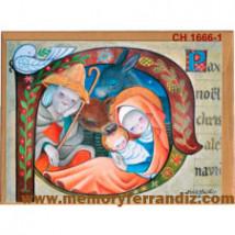 Tarjeta Christmas Ferrándiz BASTÓN MEDIEVAL + sobre color (15 x 19 cm)