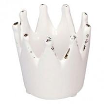 CORONA REYES MAGOS porta velas, cerámica, 7 cm, blanca.
