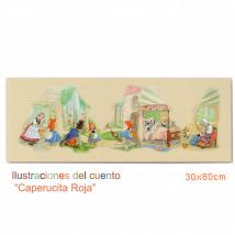 """Cuadro en lienzo digital """"Composición Cuento Caperucita"""" (30x80 cm)"""