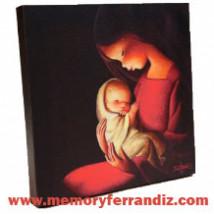"Cuadro en lienzo digital "" Virgen Roja, fondo Negro""  (30X30cm)"