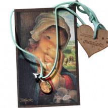 Medalla mini de PLATA DE LEY -Memory Ferrándiz- VIRGEN VENTANA- cristal lupa 13x18 mm