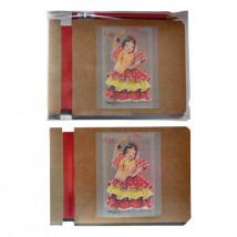 Libreta FLAMENCA+ lápiz  12,5 x 8,5 x 0,6 cm.