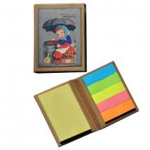 "Mini libro con notas adhesivas ""Castañera"" 6,5 x 8,5 x 1 cm. Tapa dura."