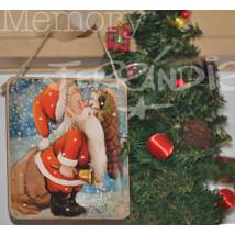 Placa puerta vintage cartón maché. 12,4 X 11 cm, con cordel. Papa Noël.