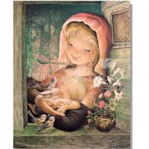 Tarjeta Christmas Ferrándiz VIRGEN PROVENZAL + sobre dorado, 15x19 cm