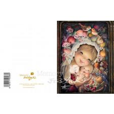 """Tarjeta """"Virgen Frutos""""+ sobre color dorado. 15 x19 cm"""