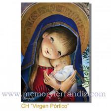 Christmas tarjeta Ferrándiz VIRGEN PÓRTICO, NUEVA, 12 X 17 cm,