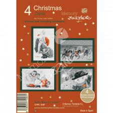 Christmas Ferrándiz, Serie BLANCO Y NEGRO, 4 tarjetas navideñas Memory Ferrándiz, felicitaciones