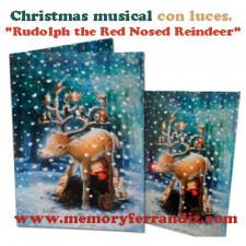 "Tarjeta Musical ""Rudolf""+ luces. Villancico ""Reno Rudolph"""