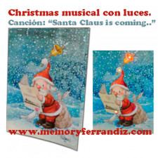 "Tarjeta Musical ""Santa Claus"" + luces. Villancico ""Santa Claus is coming"""