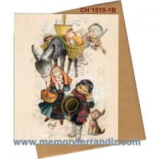 Tarjeta Christmas Ferrándiz ROMERÍA, 15X19cm+ sobre color