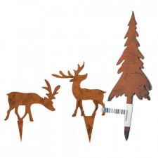 Silueta Abeto y ciervos, metal rústico. Set 3 modelos.