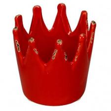 CORONA REYES MAGOS porta velas, cerámica, 7 cm, roja.