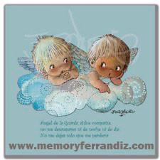 CUADRO en lienzo digital -ANGELITOS EN NUBE AZUL- Memory Ferrándiz