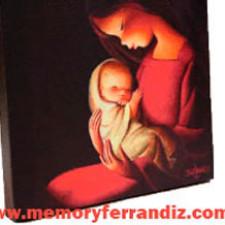 CUADRO en lienzo digital  -Virgen Roja Fondo Negro- Ferrándiz -56X56cm-