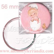 Espejo-mini  -Huevo rosa- Memory Ferrándiz, 56 mm