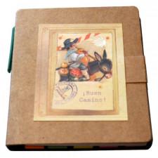 "Libreta mini con notas adhesivas + bolígrafo ""Peregrino en burrito"". 9 x 8 x 1 cm."