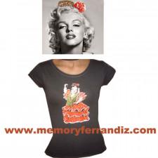"Camiseta ""Flamenca"".  1 dibujo frontal. Color caqui. 4 Tallas: MUJER"
