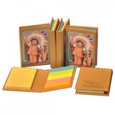 "Mini libro con notas adhesivas  ""INDIO"". 6,5 x 8,5 x 1 cm. Tapa dura."