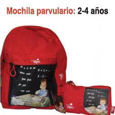 "Mochila Ferrándiz pequeña ""Niño con pizarra"" (rojo)"