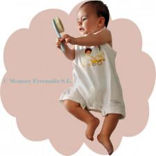 """Mono body  """"Angelito paseando bebé"""". Color blanco"""