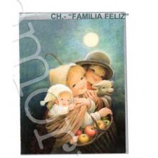 Tarjeta Christmas Ferrándiz  FAMILIA FELIZ, + sobre plateado, 15 x 19 cm.
