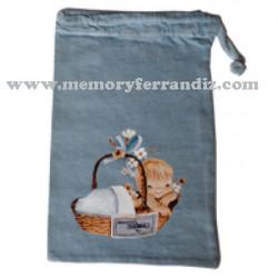 Bolsa algodón chupete Ferrándiz CESTA BEBÉ,  tamaño Pequeño, color azul retro