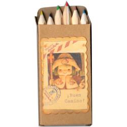 "Cajita mini lápices de colores ""Apóstol Santiago"".  6 colores. 4.5 x 9 cm"